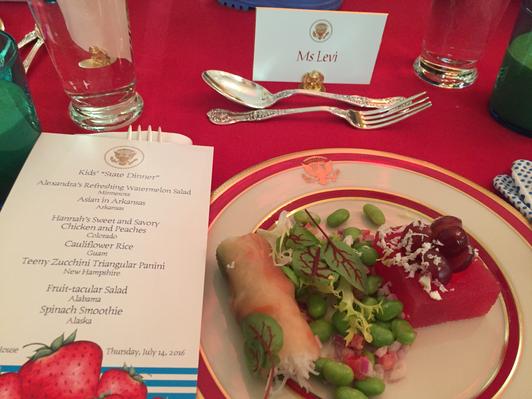 Kids' State Dinner 2016 menu