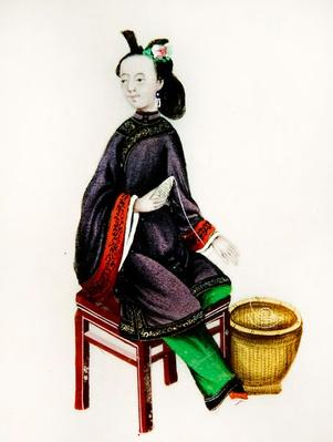 A Chinese Woman making a bobbin, Qianlong Period (1736-96) (gouache on paper)