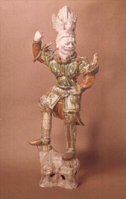 Earthenware tomb guardian, Chinese, T'ang Dynasty (618-906)