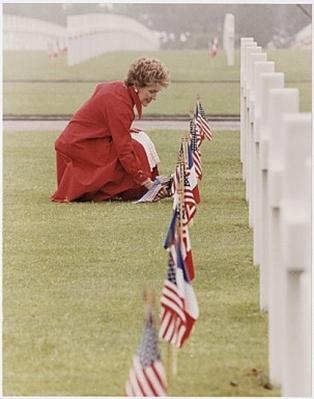Mrs. Reagan at the Omaha Beach Memorial Cemetery