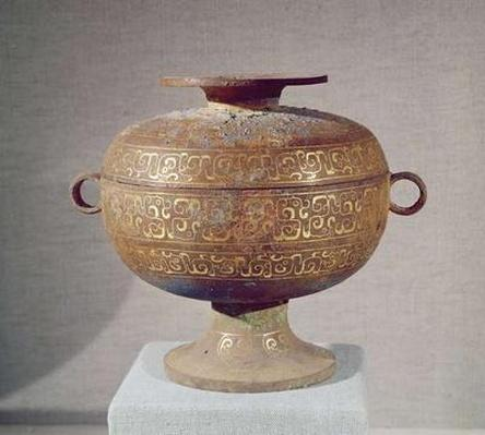 'Tou' vessel with a serpentine decoration, from Changzhi, Warring States, 5th-4th century BC (gold & bronze)