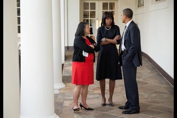 Michelle Obama meets with her Chief of Staff, Tina Tchen