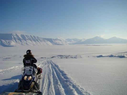 Snowmobile on Glacier