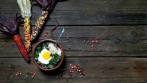 Kitchen Vignettes -- Polenta, Greens and Eggs