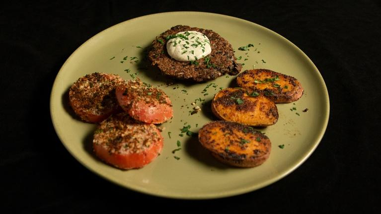 Fit to Eat: Black Bean Dijon Burger with Sweet Potato Crisps