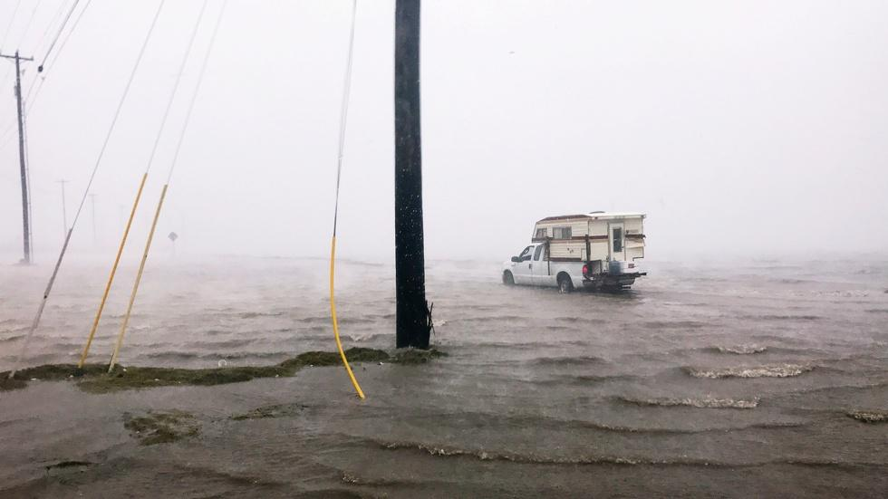 Hurricane Harvey evacuees describe 'chaos' image