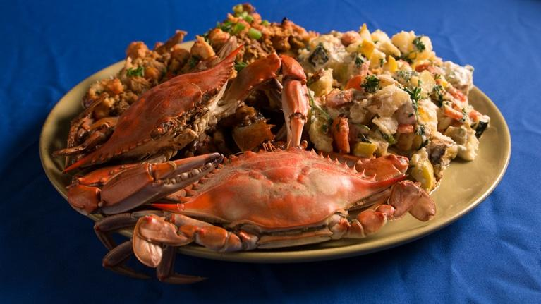 Fit to Eat: Boiled & Baked Blue Crab with Potato Salad and Slaw