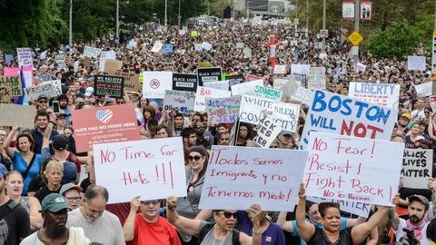 PBS NewsHour -- Counter-protesters dwarf far-right marchers at Boston rally