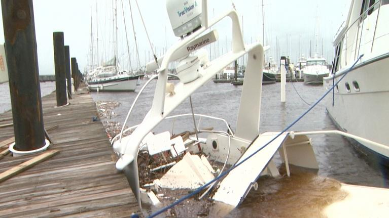 Hurricane Florence: Hurricane Florence:  New Bern Marina Damaged