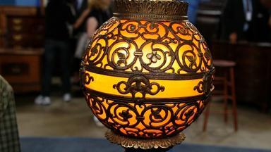 Appraisal: Oscar Bach Bronze & Glass Lamp, ca. 1930