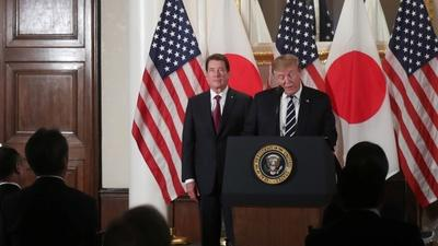 Trump talks 'trade imbalance\' on day one of Japan visit