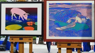 """Appraisal: Andy Warhol """"Fiesta Pig"""" & """"Turtle"""" Prints"""