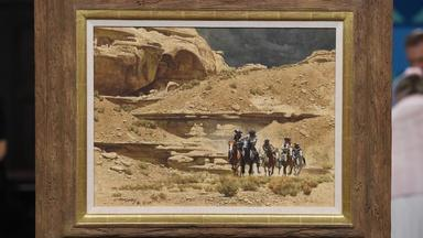 """Appraisal: 1977 McCarthy """"On the Owl Hoot Trail"""" Painting"""