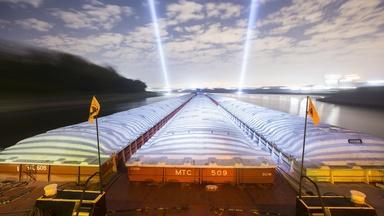 Mississippi River Barges at Night