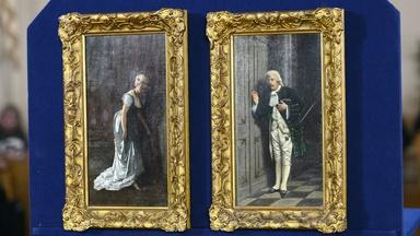 Appraisal: Achille Glisenti Diptych Oil Paintings, ca. 1900