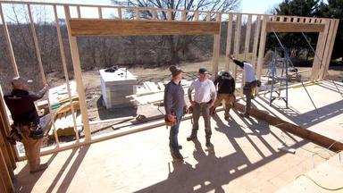 Chimney Down and Walls Up   The Westerly Ranch House