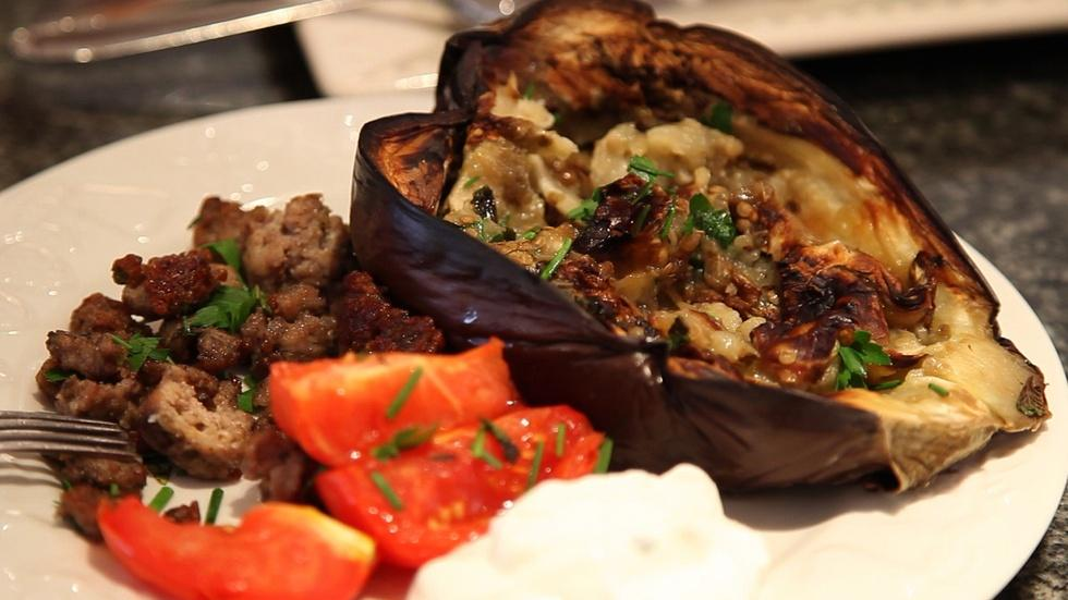 Cook It At Home: Mirna Attar's Open-Faced Roasted Eggplant image