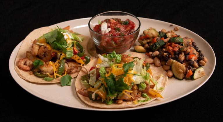 Fit to Eat: Shrimp Tacos with Okra Bean Relish and Salsa