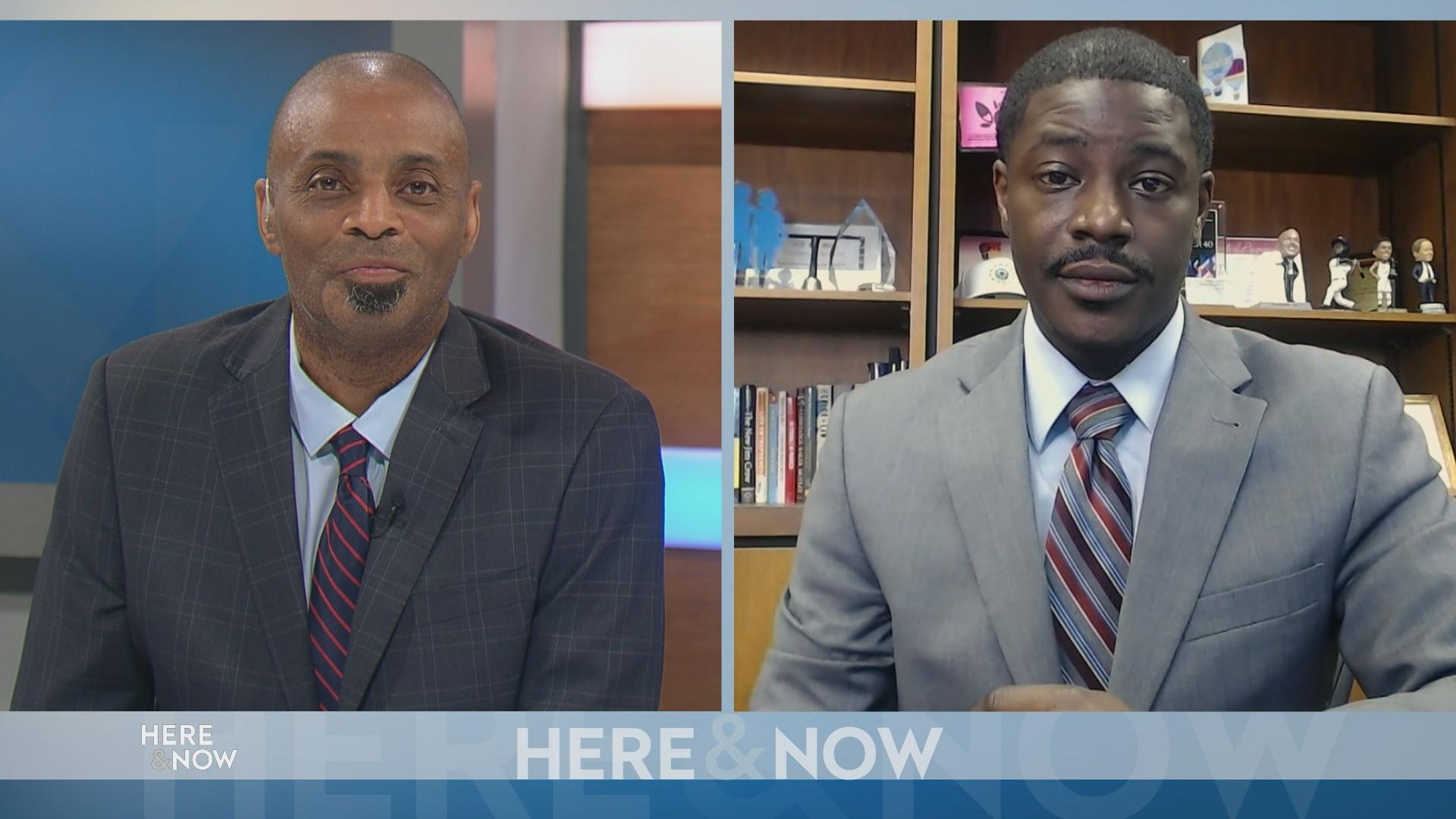 Split screen with PBS Wisconsin special projects journalist Murv Seymore (left) and Milwaukee County Executive David Crowley (right)