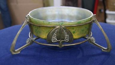 Appraisal: Early 19th Cen. Loetz Glass Bowl & Bronze Mount