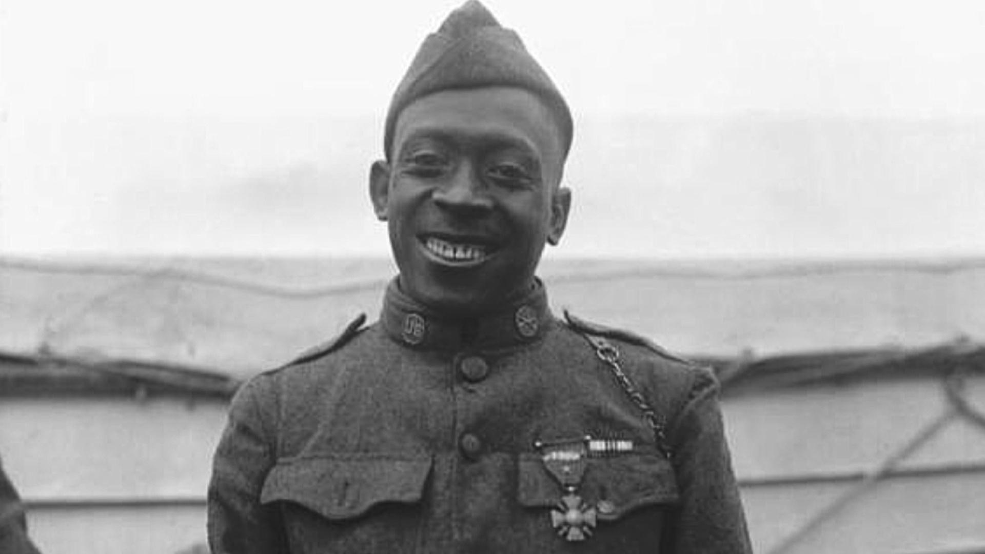 Black and white image of WWI War Hero Henry Johnson