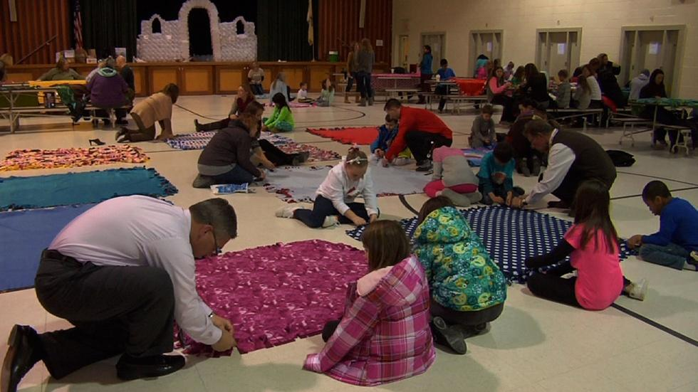 Students Make Blankets for Cancer Patients image