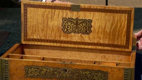 S24 E13: Appraisal: George IV Brass-inlaid Lap Desk, ca. 1825