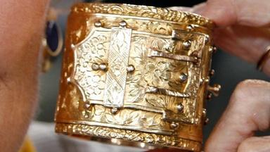 Appraisal: Victorian Gold Cuff Bracelet, ca. 1870