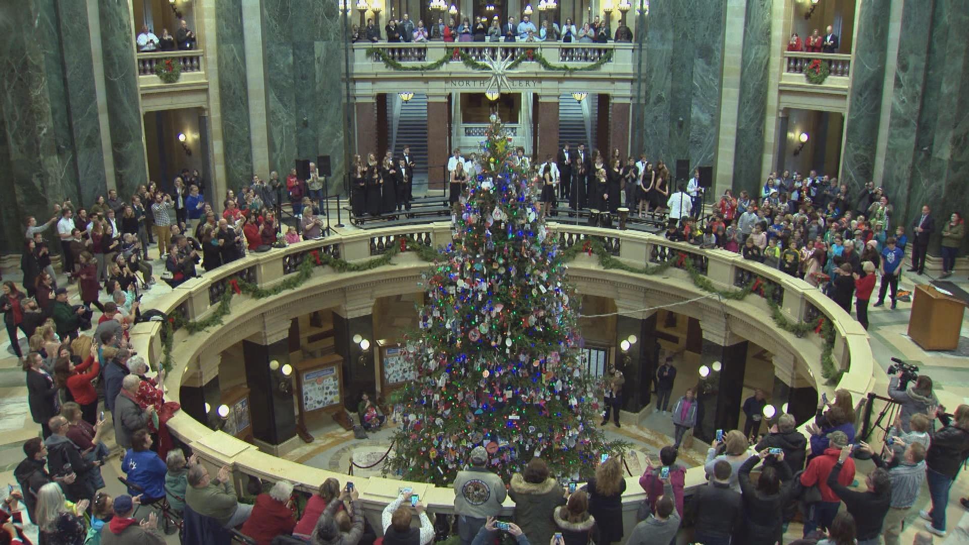 Gov. Tony Evers Lights Holiday Tree