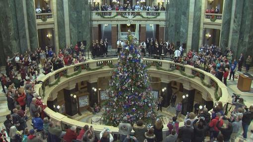 Here and Now : Gov. Tony Evers Lights Holiday Tree