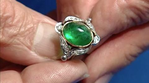 S24 E19: Appraisal: Green Glass & Diamond Ring, ca. 1920