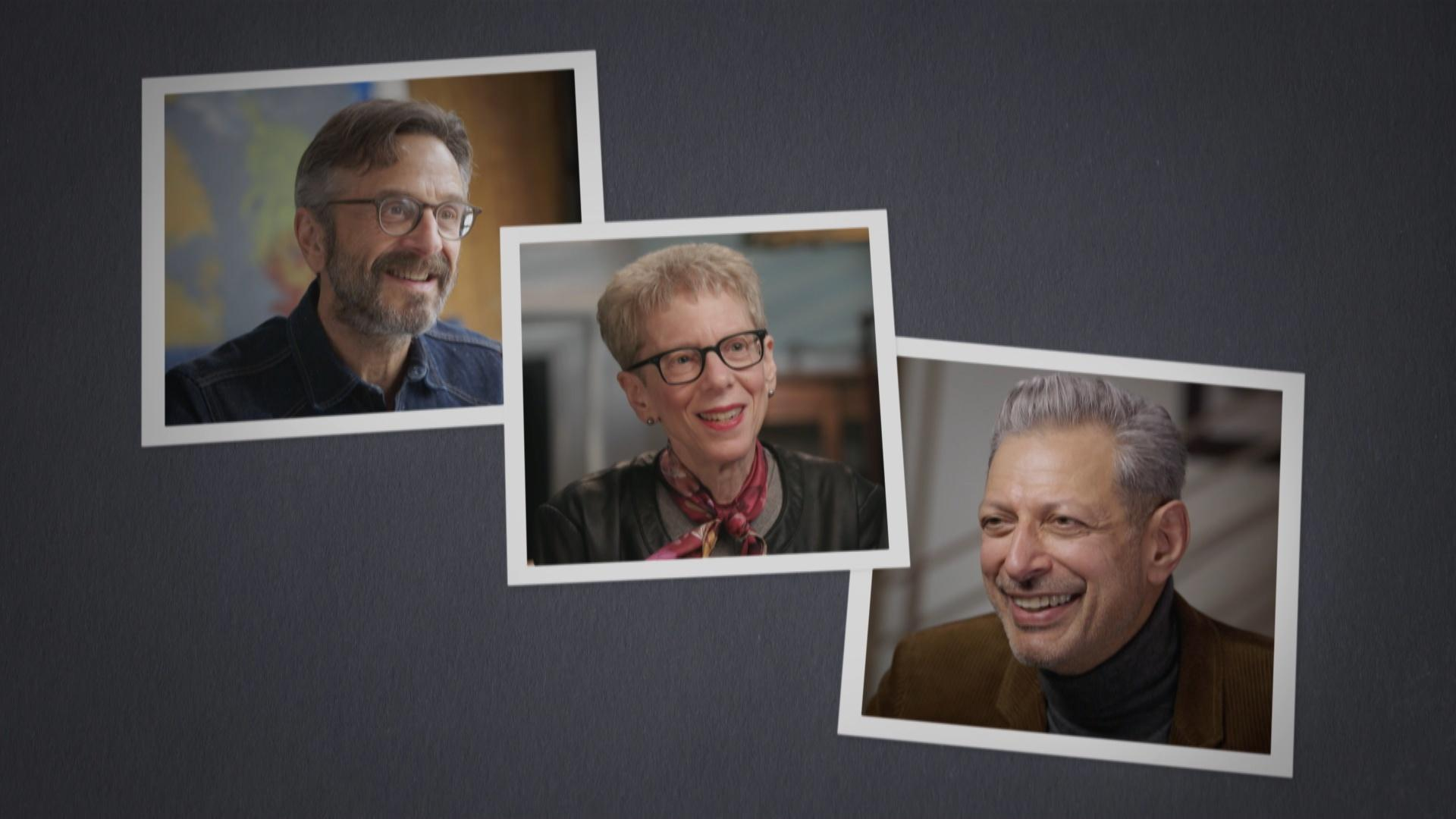 Images of Jeff Goldblum, Terry Gross, and Marc Maron.