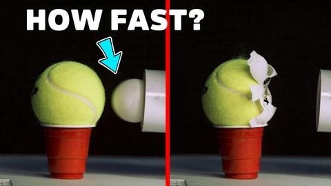 Physics Girl -- Ballistic Ping Pong Ball vs. Tennis Ball at 450km/h!