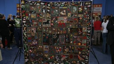 Appraisal: Embroidered Wool Animal Crazy Quilt, ca. 1900