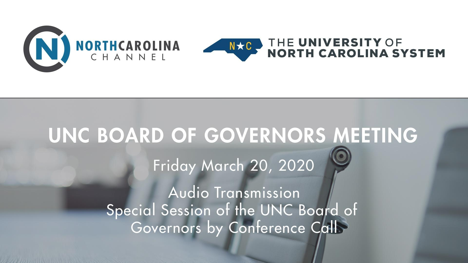 BOG 03/20/20: Special Meeting of the Board of Gove