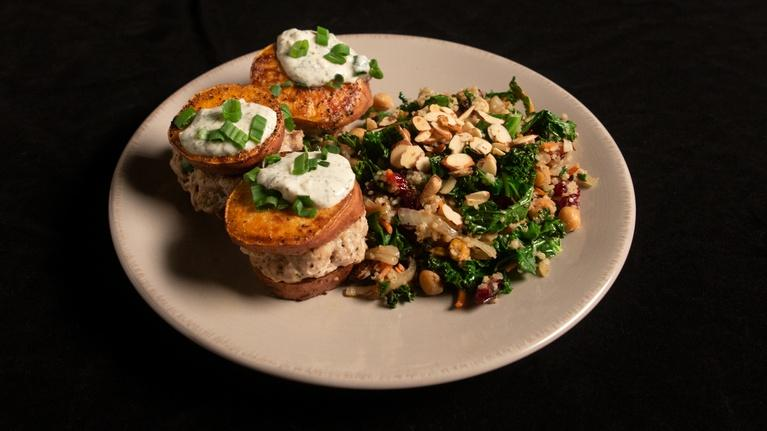 Fit to Eat: Turkey Sliders on Sweet Potatoes with a Moroccan Salad