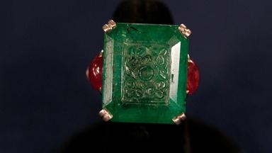 Appraisal: Carved Emerald & Ruby Ring, ca. 1925