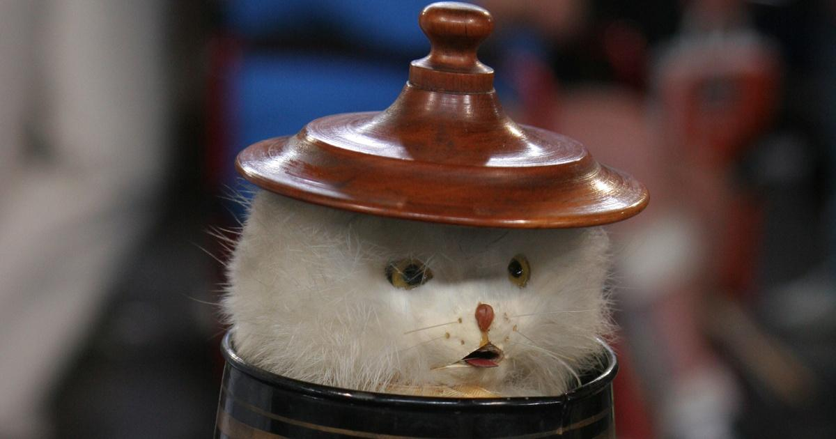 Appraisal: Ives Mechanical Cat in Milk Can Toy, ca  1893