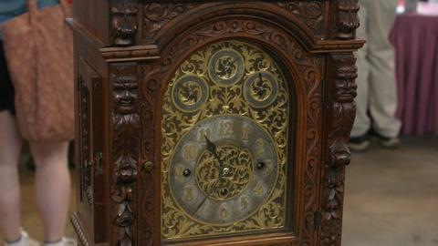 Antiques Roadshow -- Appraisal: 1906 Black Walnut Pedestal Clock