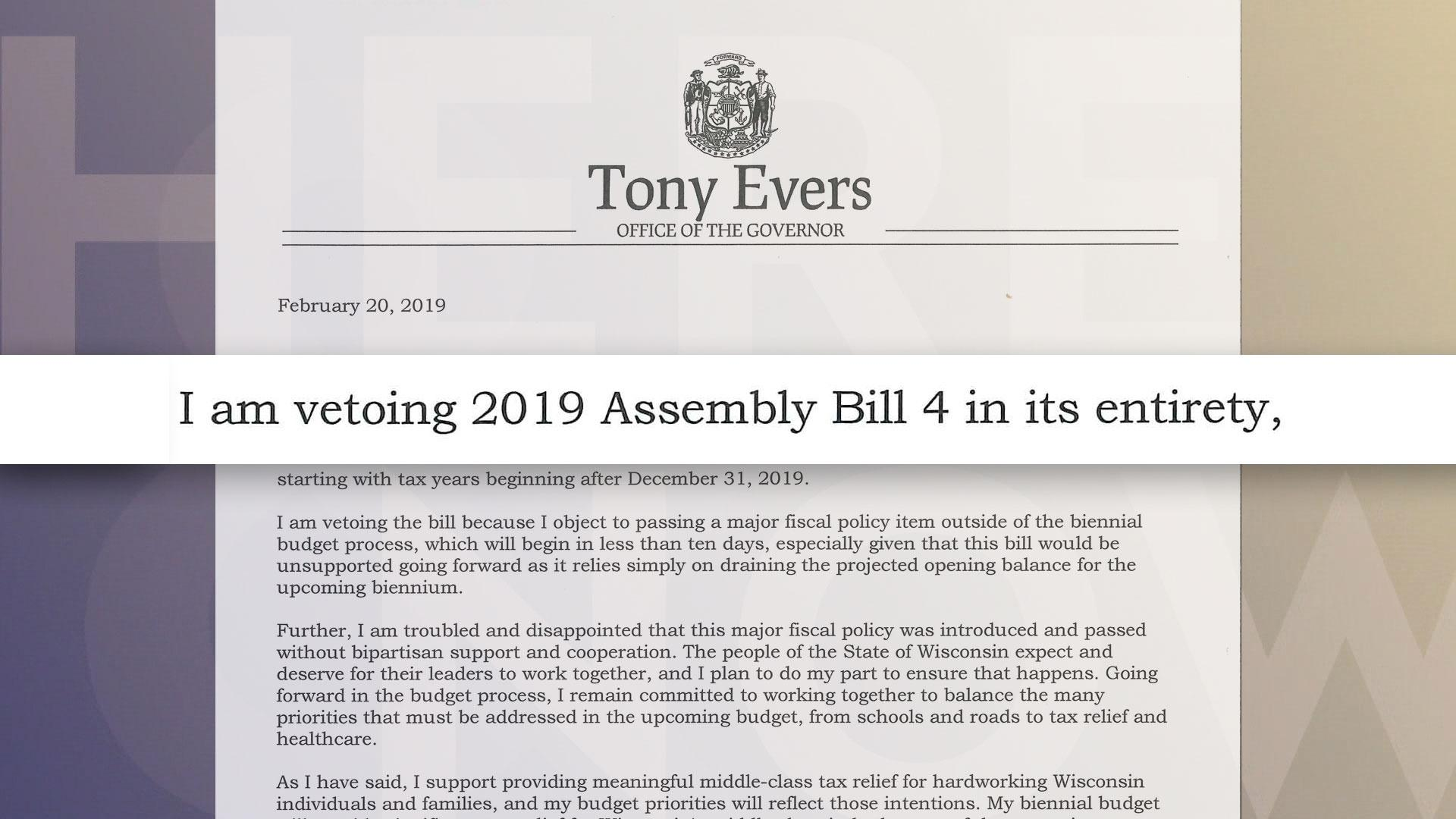 Evers Issues First Veto
