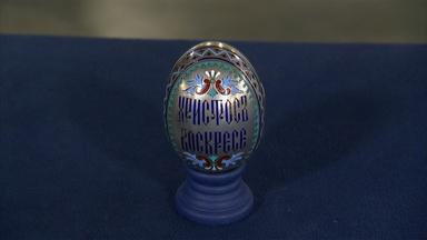 Appraisal: Khlebnikov Russian Champleve Enamel Egg, ca. 1870