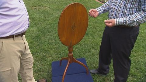 Antiques Roadshow -- Appraisal: Federal Inlaid Tilt-top Candlestand, ca. 1800