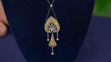Appraisal: Diamond & Pearl Pendant Necklace, ca. 1915