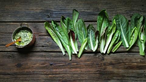 Kitchen Vignettes -- Peter Barrett's Chicory Pesto