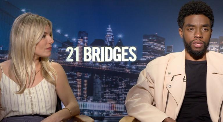 "Flicks: Chadwick Boseman and Sienna Miller for ""21 Bridges"""