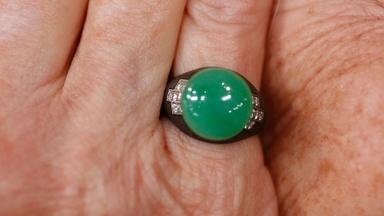 Appraisal: Marsh Steel, Jade & Diamond Ring, ca. 1950