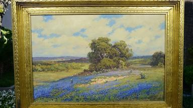 Robert Wood Bluebonnets Oil, ca. 1930
