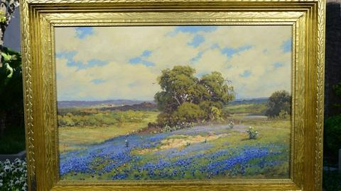 Robert Wood Bluebonnets Oil, ca. 1930