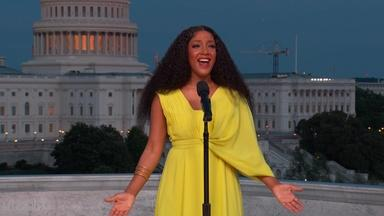 Mickey Guyton Performs the National Anthem