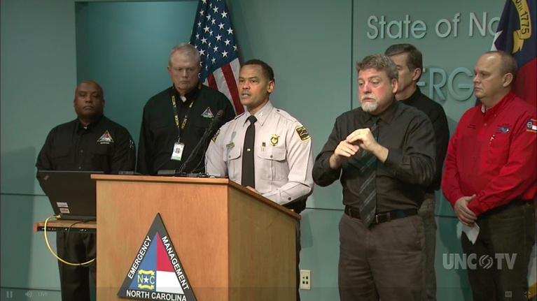 NC Emergency Management and Weather: NC Gov. R. Cooper: Snow Briefing: 12 Noon 12/08/18